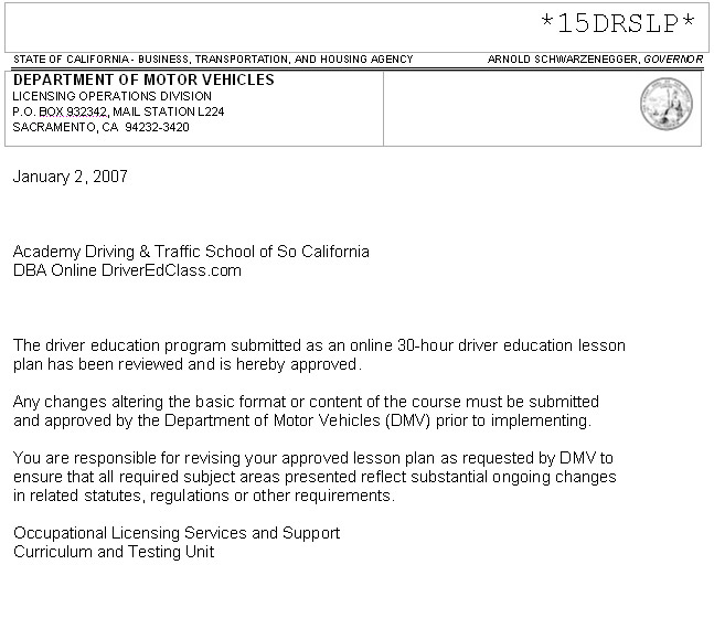 Approved by the california department of motor vehicles for California state department of motor vehicles