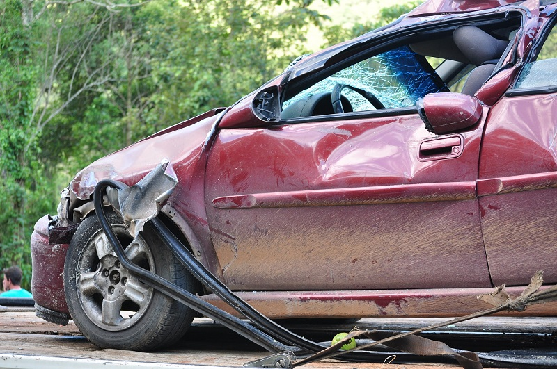 Close Up of a Car Accident with a Red Car