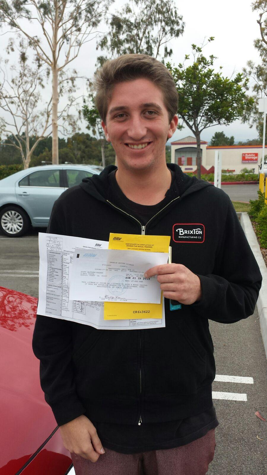 Corona del Mar High School Student passes with Varsity Driving Academy