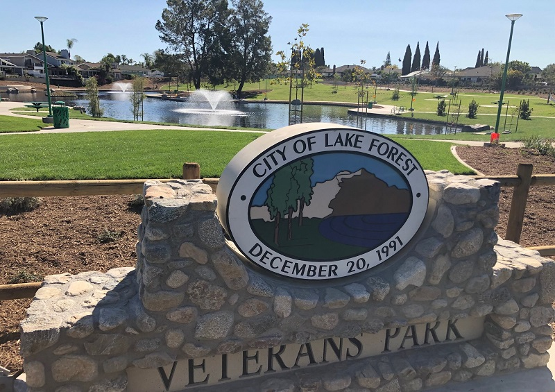 Where to Take Your Drivers Ed Test in Lake Forest Veterans Park Sign