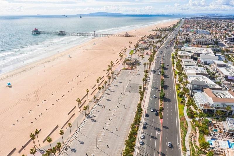Huntington Beach Driving School Overhead View of Road and Beach