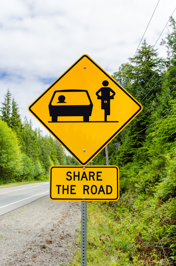 Sharing the road doesn't just apply to cars, it applies to any and all forms of travel that may be found on the roadways.