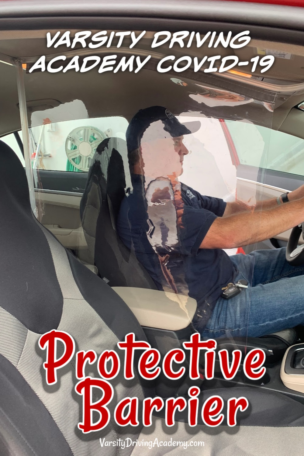 The Varsity Driving Academy COVID 19 protective barrier is one of the ways things are changing to help keep you and the trainers safer.