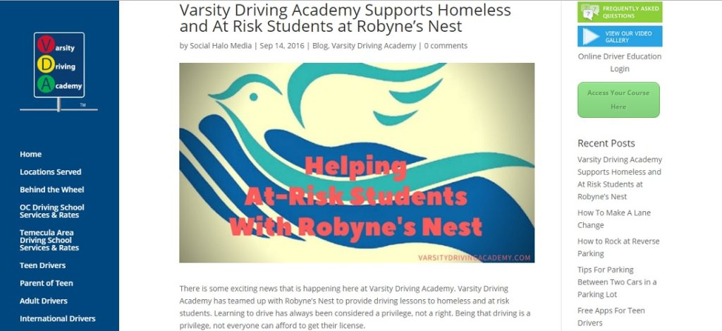 Varsity Driving Academy and Robyne's Nest Change Lives